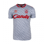 1989-91 LIVERPOOL GREY RETRO SOCCER JERSEY SHIRT