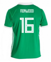 Northern Ireland Jersey 2018 World Cup Home Soccer Shirt #16 Norwood