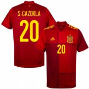Euro 2020 Spain Home Red #20 S.Cazorla Soccer Jersey Shirt