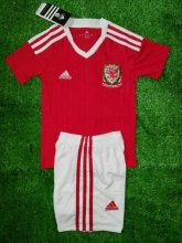 Wales Youth Jersey 2016 Home Red Soccer Shirt Kids Kit
