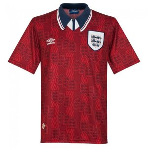 1994 England Retro Dark Red Away Soccer Shirts