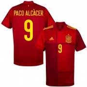 Euro 2020 Spain Home Red #9 Paco Alcacer Soccer Jersey Shirt
