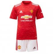 Kids Manchester United 20-21 Home Red Soccer Kit(Jersey+Shorts)