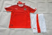 Austria Youth Jerseys 2016 Euro Home Red Soccer Shirt Kids Kit