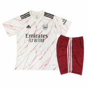 Kids Arsenal 20-21 Away White Jersey Kit (Jersey+Shorts)