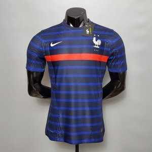 20-21 France Euro 2021 Home Blue Stripe Soccer Jersey Shirt(Player Version)